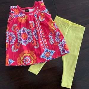Tea Collection Matching Sets - Tea Collection knit floral top with yellow legging